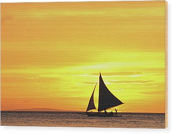 Paraw Sailing At Sunset, Philippines Wood Print by Joyoyo Chen