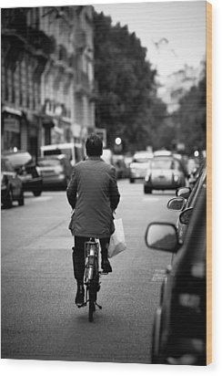 Wood Print featuring the photograph Paris By Bike by Edward Myers