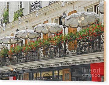 Paris Cafe Wood Print by Elena Elisseeva