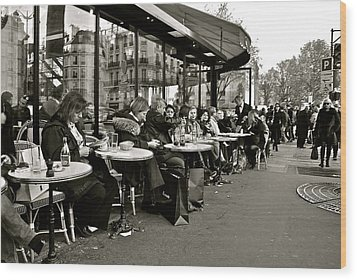 Wood Print featuring the photograph Paris Cafe by Eric Tressler