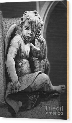 Paris Cemetery - Pere La Chaise - Black And White Cherub Wood Print by Kathy Fornal