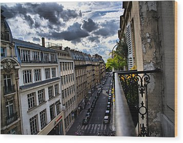 Paris From A Balcony Wood Print by Edward Myers
