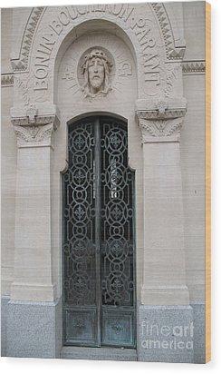 Paris Mausoleum Door With Jesus Wood Print by Kathy Fornal