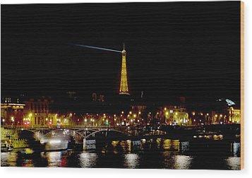 Paris Night Wood Print by Keith Stokes