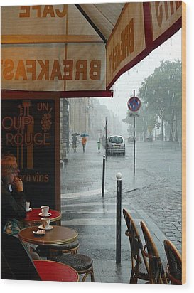 Wood Print featuring the photograph Paris Pluie by Rdr Creative