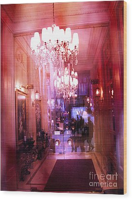 Paris Posh Pink Red Hotel Interior Chandelier Wood Print by Kathy Fornal