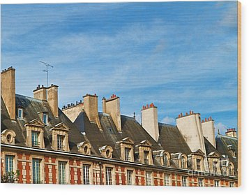 Wood Print featuring the photograph Paris Rooftops by Kim Wilson