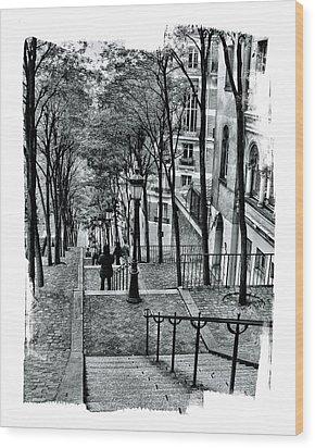 Paris Stairway Wood Print by Gordon Engebretson