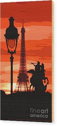 Paris Tour Eiffel Red Wood Print by Yuriy  Shevchuk