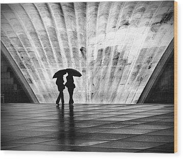 Paris Umbrella Wood Print by Nina Papiorek