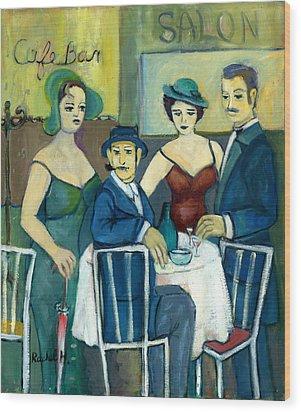 Parisian Cafe Scene In Blue Green And Brown Wood Print by Rachel Hershkovitz