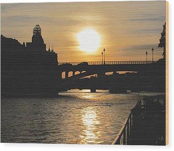 Parisian Sunset Wood Print