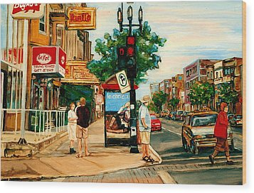Park Avenue And Bernard Montreal City Scene Wood Print by Carole Spandau
