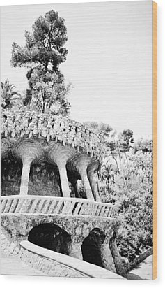 Park Guell Twists Wood Print by Lenny Carter