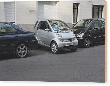 Parking In Paris Wood Print