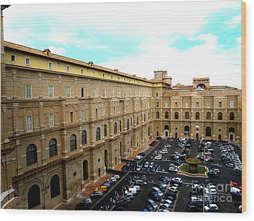 Wood Print featuring the photograph Parking Lot In Vatican by Tanya  Searcy