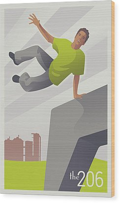 Parkour At Gasworks Park Seattle Wood Print by Mitch Frey