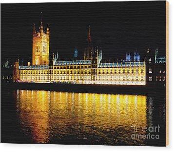 Parliament At Night Wood Print by Thanh Tran