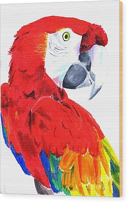 Parrot Wood Print by Helen Esdaile