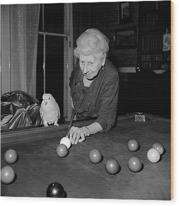 Parrots And Snooker Wood Print by Reg Speller
