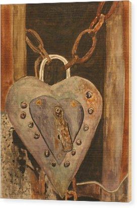 Parthenay Padlock Wood Print by Betty-Anne McDonald