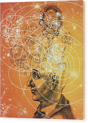 Particle Tracks And Old Cosmology Wood Print by Mehau Kulyk