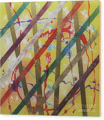 Party - Stripes 2 Wood Print by Mordecai Colodner