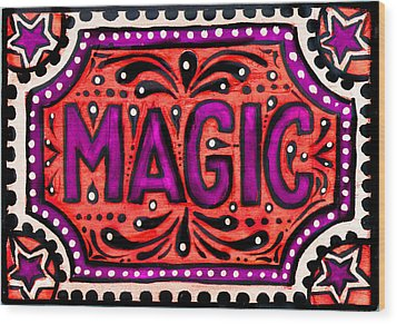 Wood Print featuring the painting Party Magic  by Nada Meeks