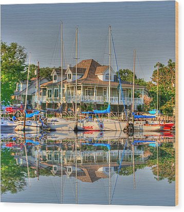 Pascagoula Boat Harbor Wood Print by Barry Jones