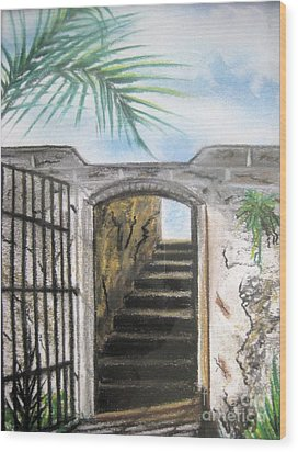 Wood Print featuring the pastel Passage by Judy Via-Wolff