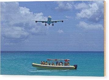 Passenger Airplane Overflies Boat. Wood Print by Fernando Barozza