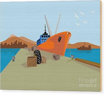 Passenger Ship Ferry Boat Anchor Retro Wood Print by Aloysius Patrimonio