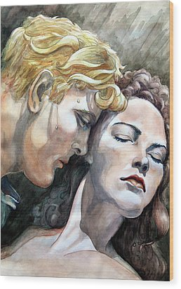 Passionate Embrace Wood Print by Hanne Lore Koehler
