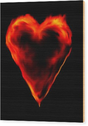 Wood Print featuring the digital art Passionate Heart by Angela Stout