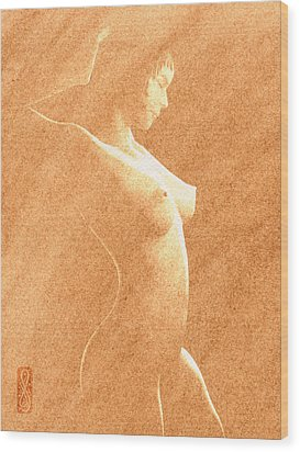 Pastel Chiaroscuro Nude Wood Print by Hakon Soreide