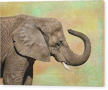 Pastel Elephant Wood Print