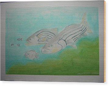 Pastel Fish Wood Print by Maya M