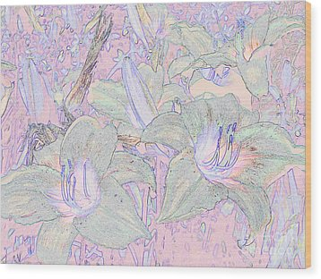 Pastel Lillies Wood Print