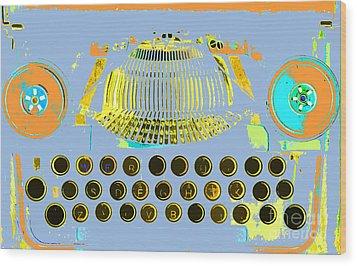 Pastel Pop Typewriter Art Wood Print by ArtyZen Studios