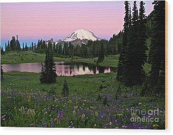 Pastel Skies Over Rainier Wood Print by Marcus Angeline