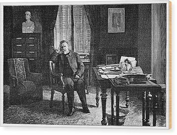 Pasteur In His Study, 19th Century Wood Print by
