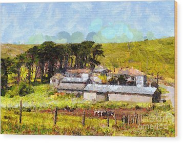 Pastoral Cattle Ranch Landscape  . 7d16047 Wood Print by Wingsdomain Art and Photography