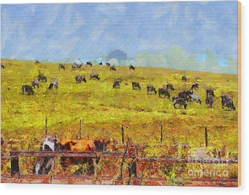 Pastoral Landscape Painterly . 7d15962 Wood Print by Wingsdomain Art and Photography