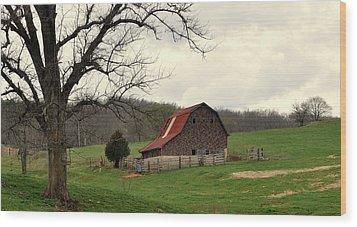 Pasture And Bar  Wood Print by Marty Koch