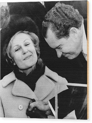 Pat Nixon Grasps Her Husbands Hand Wood Print by Everett