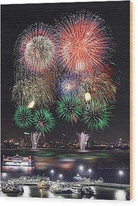 Pataya City Firework Festival Wood Print by Anek Suwannaphoom