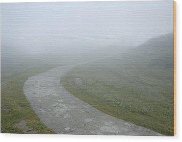 Path In The Fog Wood Print by Matthias Hauser