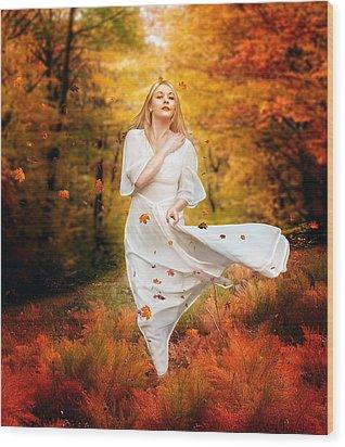 Path Of Fall Wood Print by Mary Hood