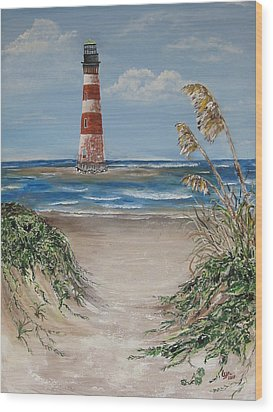 Wood Print featuring the painting Pathway To Morris Island by Lyn Calahorrano