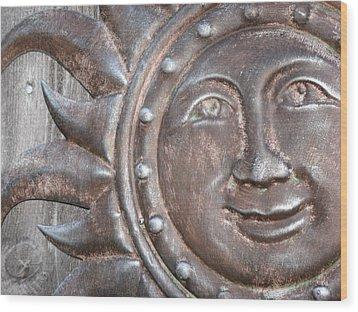 Patina Sun Wood Print by Kimberly Mackowski